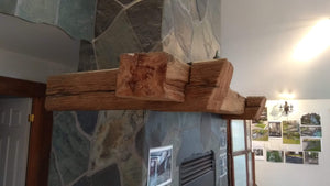 "Beautiful rustic farmhouse 6"" x 6"" mantel with antique corbels"