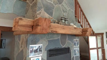 "Load image into Gallery viewer, Beautiful rustic farmhouse 6"" x 6"" mantel with antique corbels"