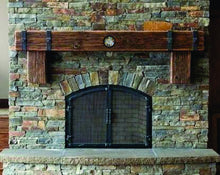 "Load image into Gallery viewer, 8"" x 8"" Mantel made from Reclaimed distressed wood beam fireplace mantel shelf with corbels and CLOCK ""REAL BEAM"""