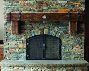 "8"" x 8"" Mantel made from Reclaimed distressed wood beam fireplace mantel shelf with corbels and CLOCK ""REAL BEAM"""