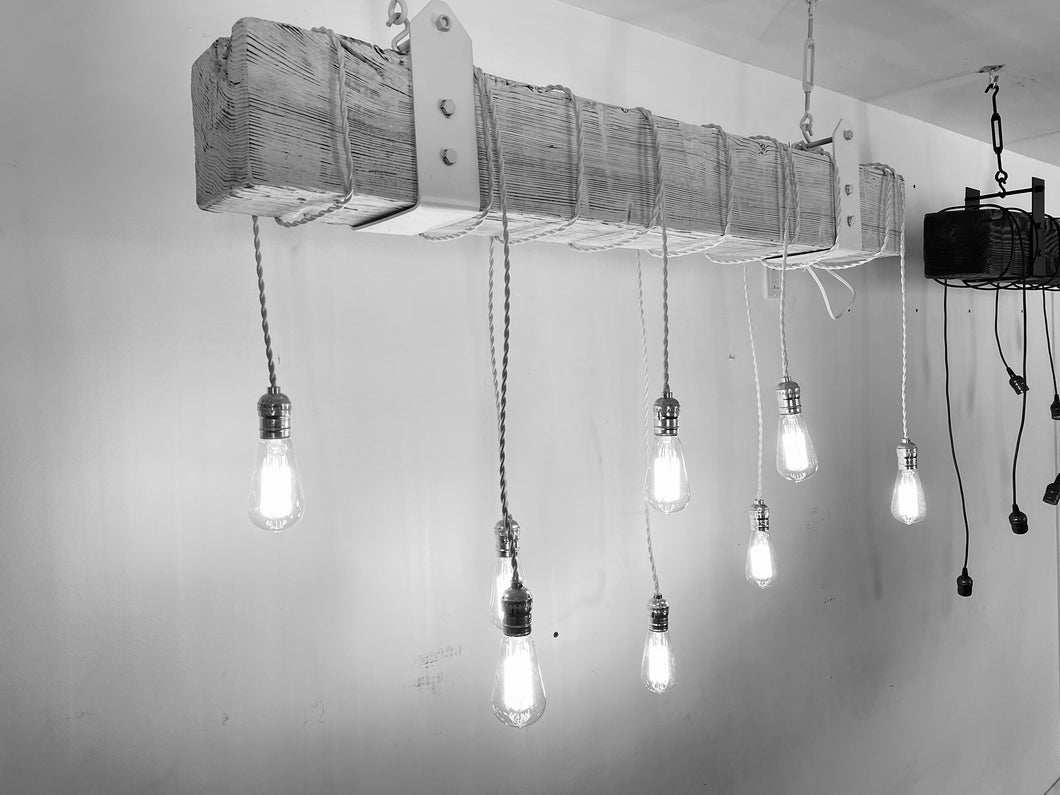 Distressed white Reclaimed Barn Wood Beam Chandelier