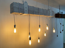 Load image into Gallery viewer, Distressed white Reclaimed Barn Wood Beam Chandelier