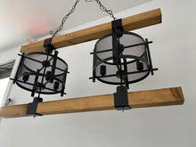 Load image into Gallery viewer, Industrial Chandelier wood and iron