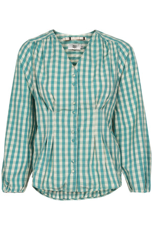 Gingham Check Blouse - Green