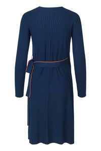 Knitted Wrap Around Dress - Blue Print
