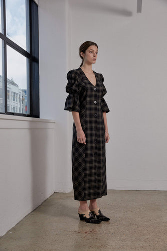 Kahlo Dress - Olive Plaid