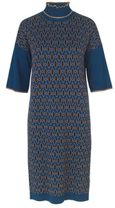 Shimmer Jacquard Dress - Art Blue