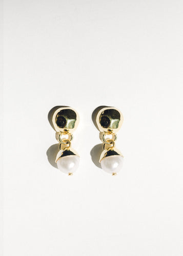Pearl Drop Earrings, Gold