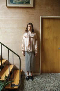 Bow Blouse - 'Liberty' Silk/Cotton | Nude