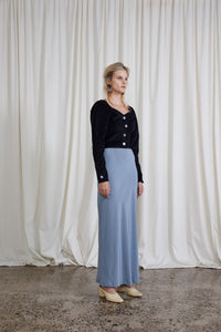 Plath Skirt - Steel Silk Crepe