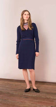 Load image into Gallery viewer, Knitted Wrap Around Dress - Blue Print