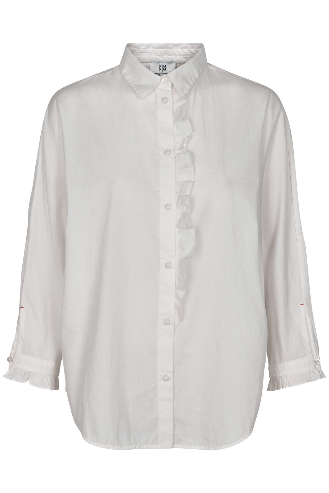Ruffle Detail Shirt - Cloud Dancer