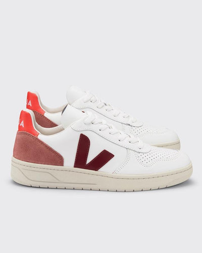 V-10 Leather- extra white/marsala/dried petal/orange