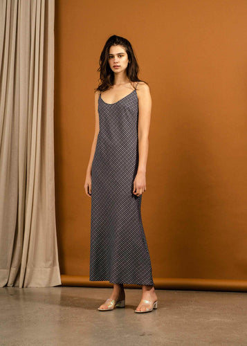 Duval Dress Navy Check