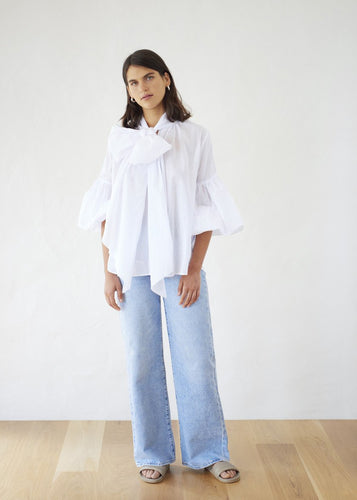 Bow Blouse - Cotton Voile | White