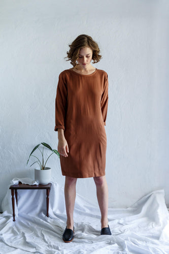 Long Sleeve Sweatshirt Dress - Copper