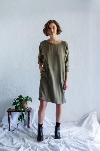 Long Sleeve Sweatshirt Dress - Sage