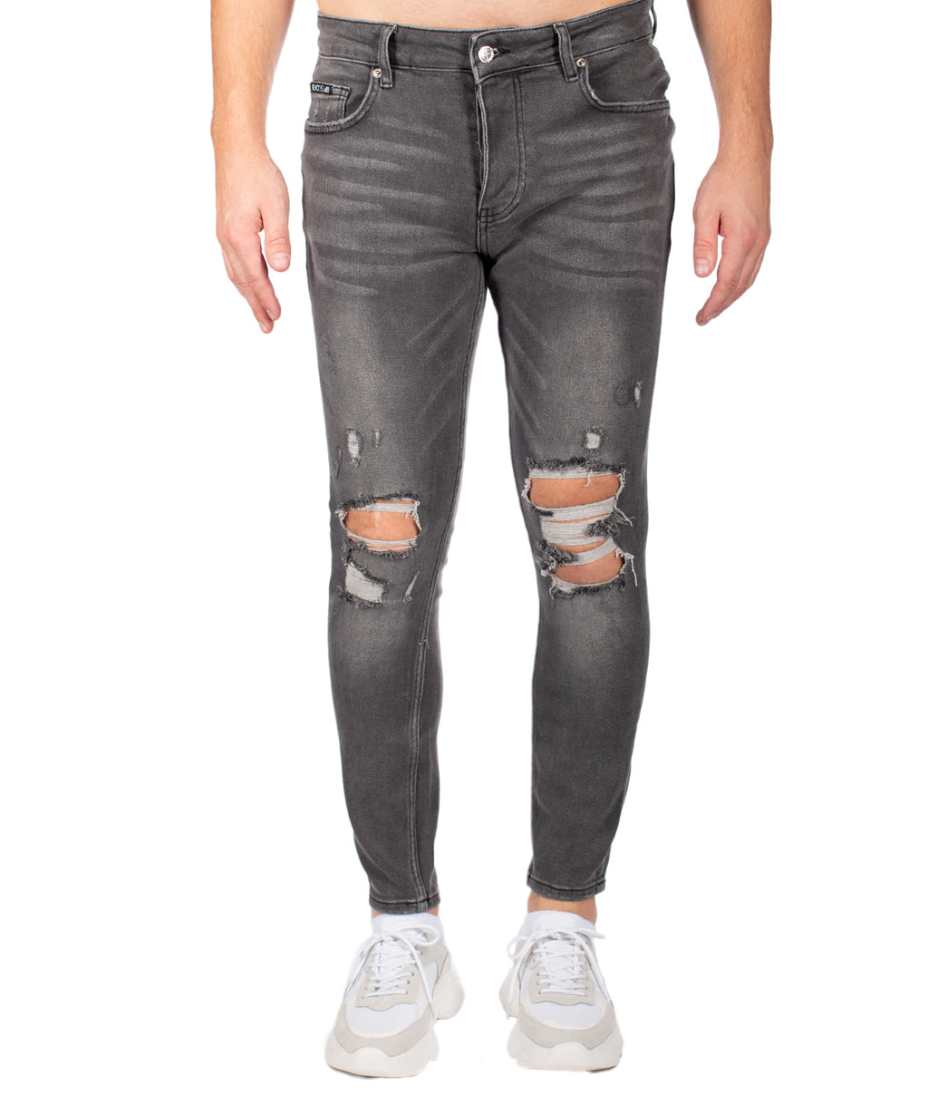 DESTROYED GREY JEANS - Vaarora