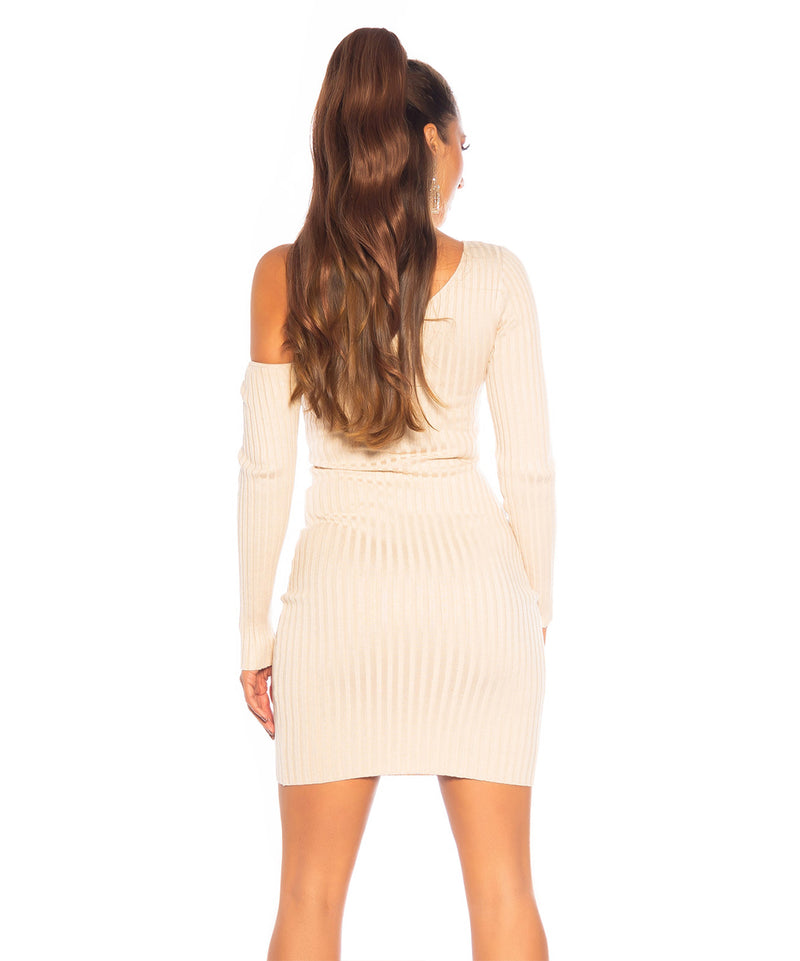 ONE SHOULDER DRESS BEIGE