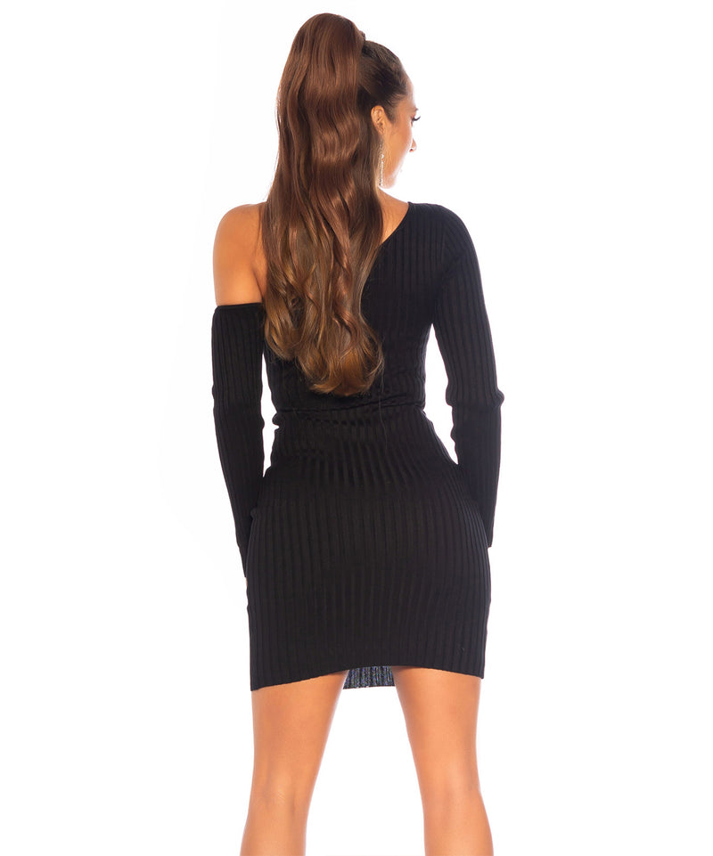 ONE SHOULDER DRESS BLACK