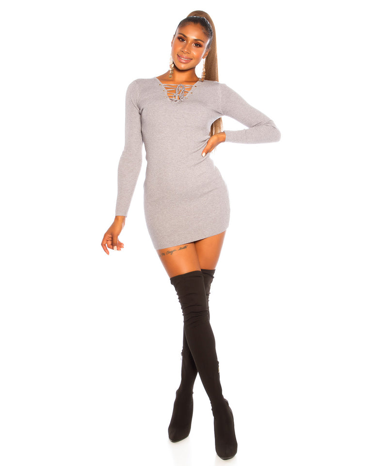 V-NECK DRESS GREY - Vaarora