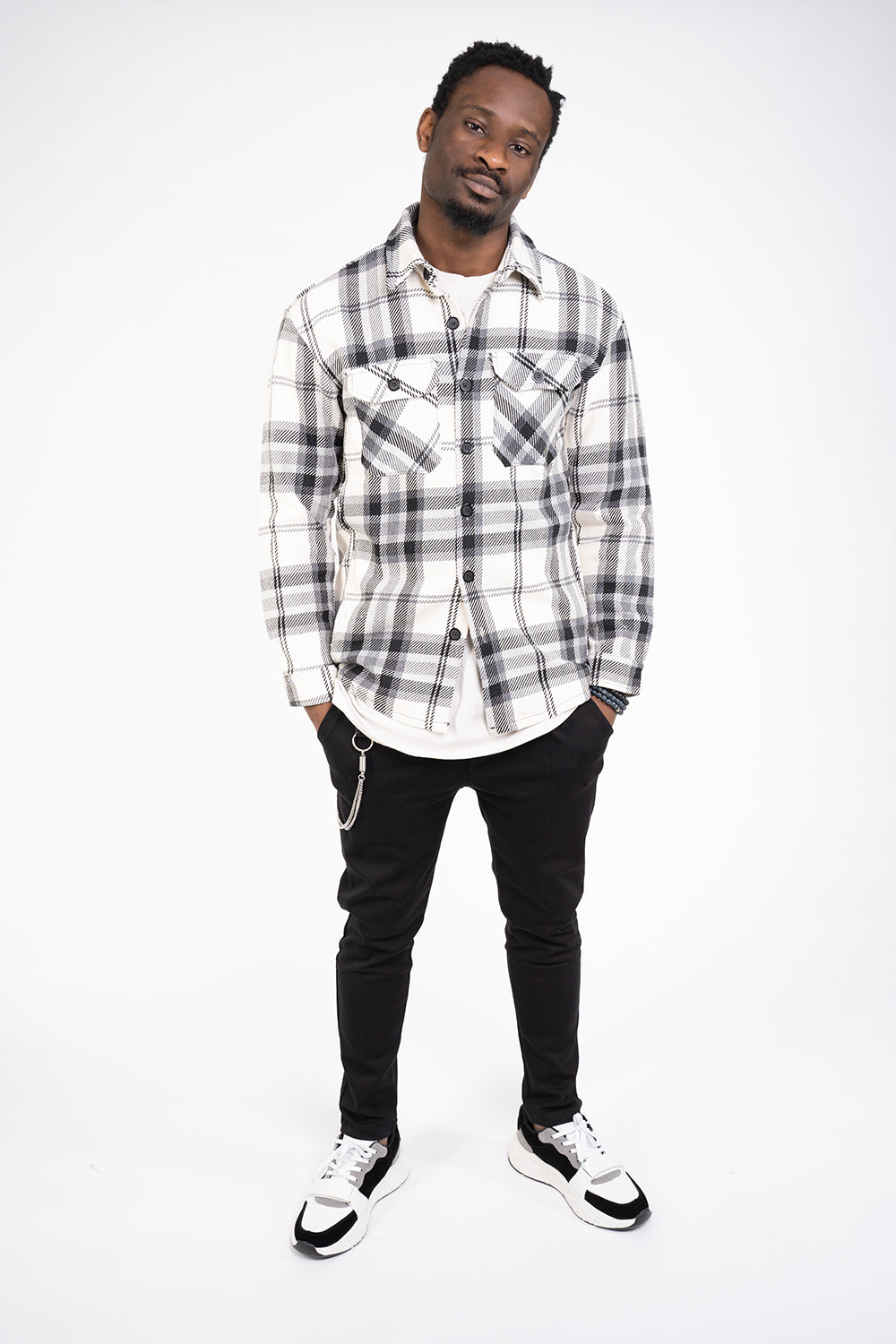 GREY & WHITE FLANNEL SHIRT