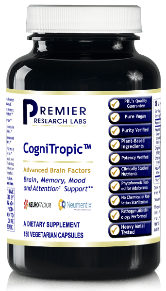 CogniTropic (Attention, Focus, Recall, Memory, Higher Thinking, Learning,  Mood, Brain Function, Concentration, Restful Sleep) 150 Vcaps
