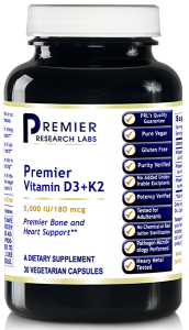 D3+K2 (Premier Vitamin D3=K2 - Heart and Bone Health) 30 Vcaps