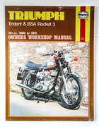 TRIUMPH Haynes manual 750 BSA triple Rocket 3 Trident maintenance book