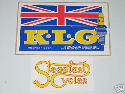 K.L.G. spark plug vinyl decal union jack UK England NOS