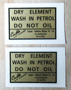 Gold and Black Dry Element Wash In Petrol Peel and Sticker Decal air filter