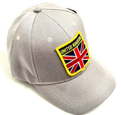 Union Jack Emblem Hat baseball cap motorcycle patch grey ballcap United Kingdom