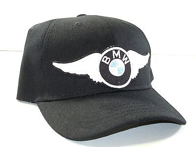 White BMW Wing Hat baseball cap vintage motorcycle patch black ballcap