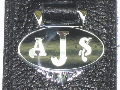 AJS key ring fob chain motorcycle black badge UK Made leather holder