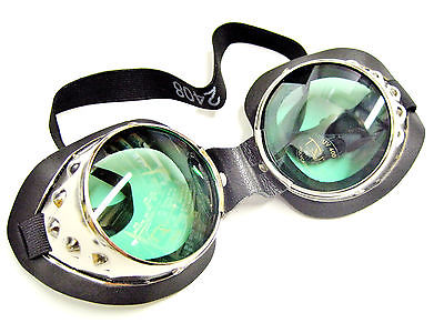 Goggles chrome green lenses motorcycle welding style lens steam punk UV400