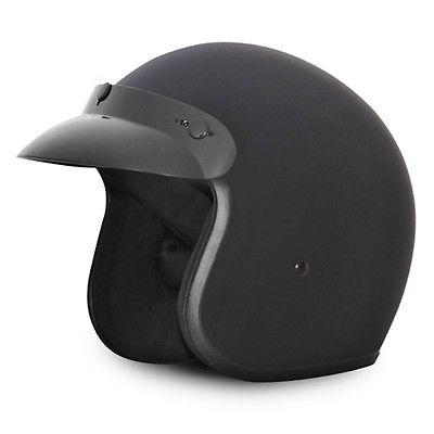 3/4 flat dull black helmet motorcycle 2XL XXL DOT Cruiser Daytona