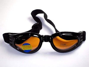 Amber tinted Folding Goggles Lenses night & day riding lens eye wear UV 400