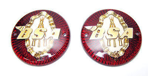 "BSA Gas Tank Badge Set Round 3 1/4"" Red & Gold C11 C12 M20 M21 A7 A10"