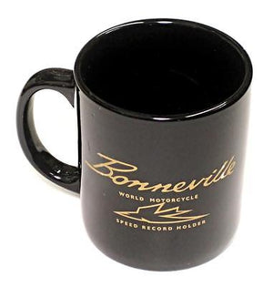 Bonnieville Mug 10oz coffee cup ceramic motorcycle logo Black UK Made