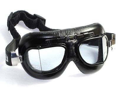 motorcycle goggles split Anti-Fog lens UK style ROADHAWK black leather goggle