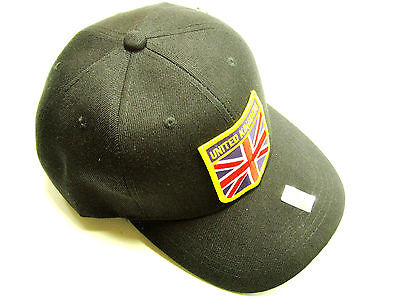 Union Jack Emblem Hat baseball cap motorcycle patch black ballcap United Kingdom