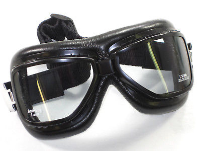 Roadhawk Goggles black motorcycle classic style goggle set tinted non scratch