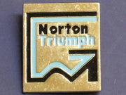 Norton Triumph lapel pin square badge chrome blue black 1974 1975