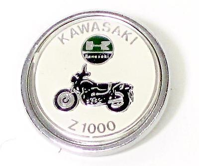 Kawasaki Lapel Pin Z1000 white chrome round classic vintage motorcycle UK MADE