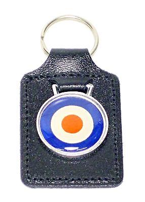 RAF Leather Key Fob roundel red blue white chain motorcycle badge ring UK MADE
