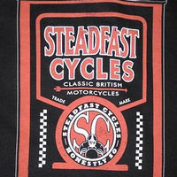Steadfast Cycles Large shirt oil can Vintage English Cafe Racer motorcycle NEW