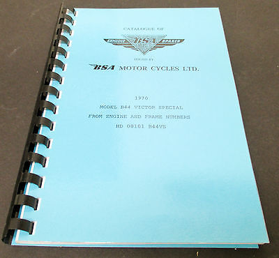 Replacement Parts Catalog manual mini book spares 1970 BSA B44 Victor Special