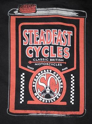 Steadfast Cycles XL shirt oil can Vintage English Cafe Racer motorcycle marvel