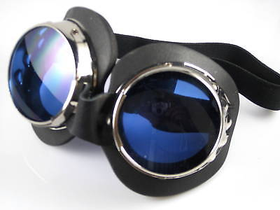 Goggles chrome blue lenses motorcycle welding style removable lens steam punk