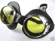Goggles chrome yellow lenses motorcycle welding style lens steam punk riding